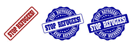 STOP REFUGEES! scratched stamp seals in red and blue colors. Vector STOP REFUGEES! signs with scratced texture. Graphic elements are rounded rectangles, rosettes, circles and text captions.