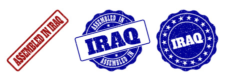 ASSEMBLED IN IRAQ scratched stamp seals in red and blue colors. Vector ASSEMBLED IN IRAQ imprints with draft effect. Graphic elements are rounded rectangles, rosettes, circles and text captions.
