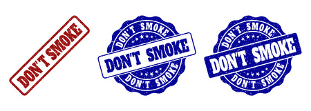 DON'T SMOKE grunge stamp seals in red and blue colors. Vector DON'T SMOKE signs with grunge surface. Graphic elements are rounded rectangles, rosettes, circles and text titles.