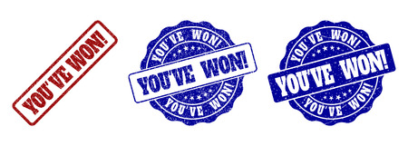 YOUVE WON! grunge stamp seals in red and blue colors. Vector YOUVE WON! imprints with grunge surface. Graphic elements are rounded rectangles, rosettes, circles and text titles.
