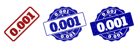 0.001 grunge stamp seals in red and blue colors. Vector 0.001 marks with draft surface. Graphic elements are rounded rectangles, rosettes, circles and text tags. Designed for rubber stamp imitations.