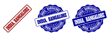 INDIA, BANGALORE scratched stamp seals in red and blue colors. Vector INDIA, BANGALORE labels with distress surface. Graphic elements are rounded rectangles, rosettes, circles and text labels.