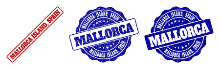 MALLORCA ISLAND, SPAIN grunge stamp seals in red and blue colors. Vector MALLORCA ISLAND, SPAIN marks with grunge effect. Graphic elements are rounded rectangles, rosettes, circles and text tags.