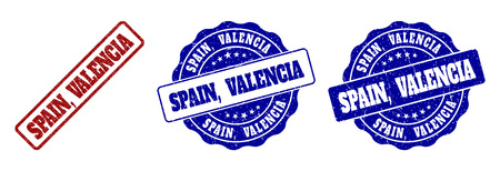 SPAIN, VALENCIA grunge stamp seals in red and blue colors. Vector SPAIN, VALENCIA labels with grainy style. Graphic elements are rounded rectangles, rosettes, circles and text labels.