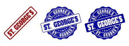 ST. GEORGE'S scratched stamp seals in red and blue colors. Vector ST. GEORGE'S labels with dirty texture. Graphic elements are rounded rectangles, rosettes, circles and text labels.