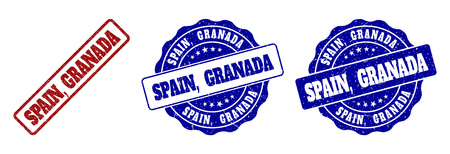 SPAIN, GRANADA grunge stamp seals in red and blue colors. Vector SPAIN, GRANADA watermarks with grunge texture. Graphic elements are rounded rectangles, rosettes, circles and text captions.