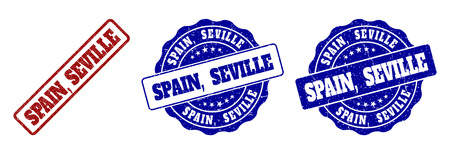 SPAIN, SEVILLE grunge stamp seals in red and blue colors. Vector SPAIN, SEVILLE overlays with grunge style. Graphic elements are rounded rectangles, rosettes, circles and text titles.