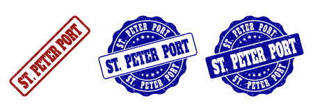 ST. PETER PORT grunge stamp seals in red and blue colors. Vector ST. PETER PORT signs with grunge style. Graphic elements are rounded rectangles, rosettes, circles and text tags.