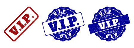 V.I.P. grunge stamp seals in red and blue colors. Vector V.I.P. imprints with grunge style. Graphic elements are rounded rectangles, rosettes, circles and text labels.