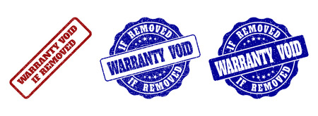 WARRANTY VOID IF REMOVED grunge stamp seals in red and blue colors. Vector WARRANTY VOID IF REMOVED labels with grunge effect. Graphic elements are rounded rectangles, rosettes,