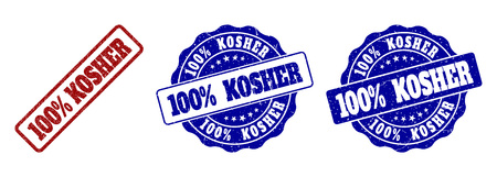 100% KOSHER grunge stamp seals in red and blue colors. Vector 100% KOSHER marks with grainy effect. Graphic elements are rounded rectangles, rosettes, circles and text captions.