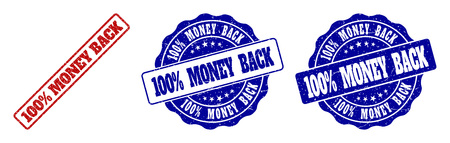 100% MONEY BACK grunge stamp seals in red and blue colors. Vector 100% MONEY BACK marks with grunge texture. Graphic elements are rounded rectangles, rosettes, circles and text captions.