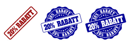 20% RABATT grunge stamp seals in red and blue colors. Vector 20% RABATT signs with grunge effect. Graphic elements are rounded rectangles, rosettes, circles and text tags. Standard-Bild - 113314121