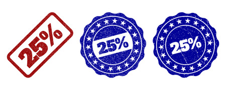 25% scratched stamp seals in red and blue colors. Vector 25% labels with dirty effect. Graphic elements are rounded rectangles, rosettes, circles and text titles. Designed for rubber stamp imitations. 写真素材