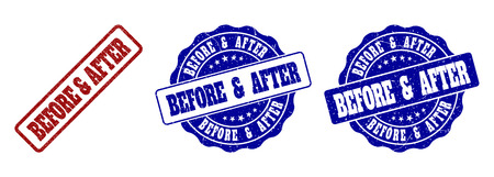 BEFORE & AFTER scratched stamp seals in red and blue colors. Vector BEFORE & AFTER labels with scratced surface. Graphic elements are rounded rectangles, rosettes, circles and text labels.