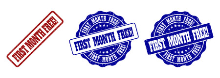 FIRST MONTH FREE! grunge stamp seals in red and blue colors. Vector FIRST MONTH FREE! marks with distress texture. Graphic elements are rounded rectangles, rosettes, circles and text captions. Banque d'images - 127101201