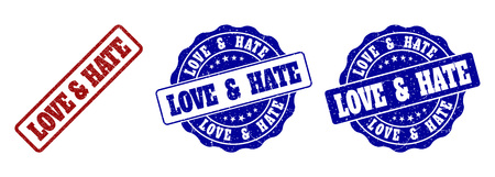 LOVE & HATE scratched stamp seals in red and blue colors. Vector LOVE & HATE overlays with grunge surface. Graphic elements are rounded rectangles, rosettes, circles and text captions.  イラスト・ベクター素材