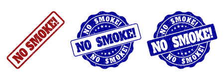 NO SMOKE! scratched stamp seals in red and blue colors. Vector NO SMOKE! labels with grainy effect. Graphic elements are rounded rectangles, rosettes, circles and text labels. Illusztráció