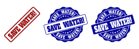SAVE WATER! scratched stamp seals in red and blue colors. Vector SAVE WATER! labels with distress effect. Graphic elements are rounded rectangles, rosettes, circles and text labels.