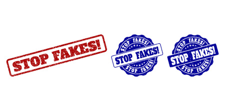 STOP FAKES! grunge stamp seals in red and blue colors. Vector STOP FAKES! watermarks with grunge effect. Graphic elements are rounded rectangles, rosettes, circles and text labels. Ilustração