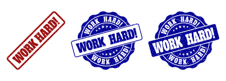 WORK HARD! scratched stamp seals in red and blue colors. Vector WORK HARD! labels with grainy style. Graphic elements are rounded rectangles, rosettes, circles and text labels.