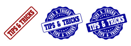 TIPS & TRICKS grunge stamp seals in red and blue colors. Vector TIPS & TRICKS labels with grainy texture. Graphic elements are rounded rectangles, rosettes, circles and text labels.
