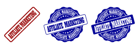 AFFILIATE MARKETING scratched stamp seals in red and blue colors. Vector AFFILIATE MARKETING marks with scratced surface. Graphic elements are rounded rectangles, rosettes, circles and text titles. Illustration
