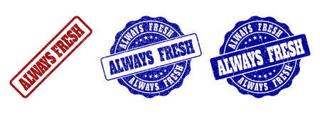TOUJOURS FRAIS timbres griffés aux couleurs rouge et bleu. Étiquettes TOUJOURS FRAIS de vecteur avec style de détresse. Les éléments graphiques sont des rectangles arrondis, des rosettes, des cercles et des balises de texte. Vecteurs