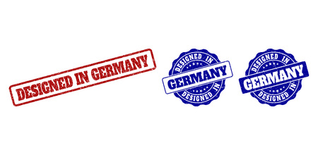 DESIGNED IN GERMANY grunge stamp seals in red and blue colors. Vector DESIGNED IN GERMANY imprints with grunge effect. Graphic elements are rounded rectangles, rosettes, circles and text tags. Illustration