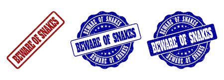 BEWARE OF SNAKES grunge stamp seals in red and blue colors. Vector BEWARE OF SNAKES marks with grunge texture. Graphic elements are rounded rectangles, rosettes, circles and text tags.
