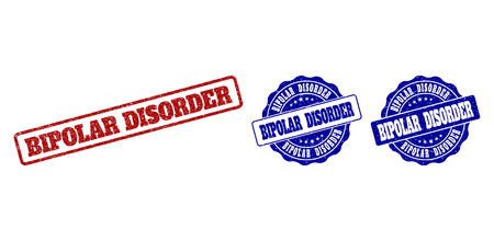 BIPOLAR DISORDER scratched stamp seals in red and blue colors. Vector BIPOLAR DISORDER labels with grainy surface. Graphic elements are rounded rectangles, rosettes, circles and text labels.