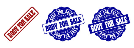 BODY FOR SALE scratched stamp seals in red and blue colors. Vector BODY FOR SALE watermarks with draft style. Graphic elements are rounded rectangles, rosettes, circles and text captions.