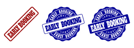 EARLY BOOKING grunge stamp seals in red and blue colors. Vector EARLY BOOKING watermarks with grunge texture. Graphic elements are rounded rectangles, rosettes, circles and text captions.