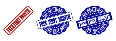 FREE FIRST MONTH scratched stamp seals in red and blue colors. Vector FREE FIRST MONTH overlays with draft texture. Graphic elements are rounded rectangles, rosettes, circles and text tags.