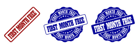 FIRST MONTH FREE scratched stamp seals in red and blue colors. Vector FIRST MONTH FREE labels with grainy effect. Graphic elements are rounded rectangles, rosettes, circles and text labels. Illustration