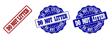 DO NOT LITTER grunge stamp seals in red and blue colors. Vector DO NOT LITTER overlays with grunge effect. Graphic elements are rounded rectangles, rosettes, circles and text titles. Illustration