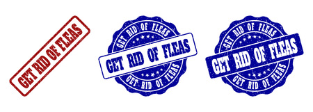 GET RID OF FLEAS grunge stamp seals in red and blue colors. Vector GET RID OF FLEAS imprints with grunge texture. Graphic elements are rounded rectangles, rosettes, circles and text tags. Illustration