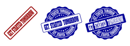 GET STARTED TOMORROW grunge stamp seals in red and blue colors. Vector GET STARTED TOMORROW signs with grunge effect. Graphic elements are rounded rectangles, rosettes, circles and text titles.
