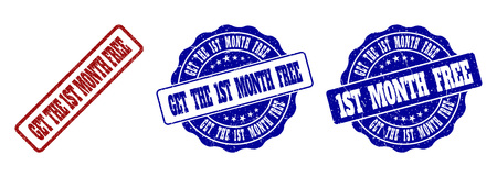GET THE 1ST MONTH FREE scratched stamp seals in red and blue colors. Vector GET THE 1ST MONTH FREE labels with grunge texture. Graphic elements are rounded rectangles, rosettes, Banque d'images - 126793836