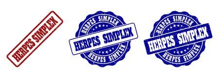 HERPES SIMPLEX grunge stamp seals in red and blue colors. Vector HERPES SIMPLEX marks with grunge surface. Graphic elements are rounded rectangles, rosettes, circles and text tags.