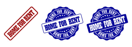 HOME FOR RENT grunge stamp seals in red and blue colors. Vector HOME FOR RENT watermarks with grunge style. Graphic elements are rounded rectangles, rosettes, circles and text labels.