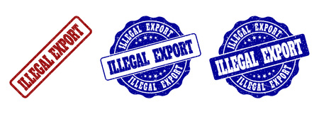 ILLEGAL EXPORT scratched stamp seals in red and blue colors. Vector ILLEGAL EXPORT labels with dirty style. Graphic elements are rounded rectangles, rosettes, circles and text titles. Illustration