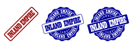 INLAND EMPIRE grunge stamp seals in red and blue colors. Vector INLAND EMPIRE overlays with grunge texture. Graphic elements are rounded rectangles, rosettes, circles and text labels.
