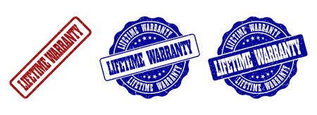 LIFETIME WARRANTY grunge stamp seals in red and blue colors. Vector LIFETIME WARRANTY overlays with grunge surface. Graphic elements are rounded rectangles, rosettes, circles and text titles. Illustration