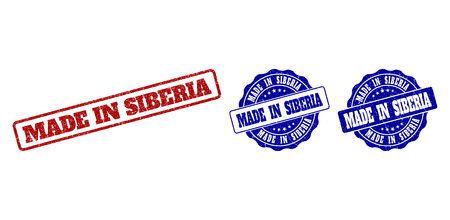 MADE IN SIBERIA grunge stamp seals in red and blue colors. Vector MADE IN SIBERIA labels with grainy texture. Graphic elements are rounded rectangles, rosettes, circles and text labels.