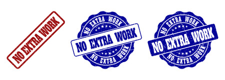 NO EXTRA WORK grunge stamp seals in red and blue colors. Vector NO EXTRA WORK labels with grunge effect. Graphic elements are rounded rectangles, rosettes, circles and text captions.