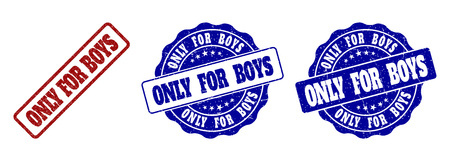ONLY FOR BOYS grunge stamp seals in red and blue colors. Vector ONLY FOR BOYS marks with grunge texture. Graphic elements are rounded rectangles, rosettes, circles and text tags.