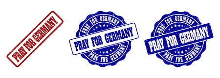 PRAY FOR GERMANY grunge stamp seals in red and blue colors. Vector PRAY FOR GERMANY signs with grunge texture. Graphic elements are rounded rectangles, rosettes, circles and text labels.