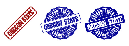 OREGON STATE scratched stamp seals in red and blue colors. Vector OREGON STATE labels with distress style. Graphic elements are rounded rectangles, rosettes, circles and text labels.  イラスト・ベクター素材