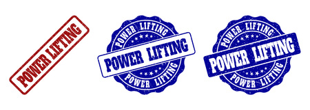POWER LIFTING grunge stamp seals in red and blue colors. Vector POWER LIFTING watermarks with grunge surface. Graphic elements are rounded rectangles, rosettes, circles and text tags.